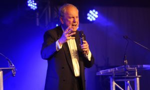 Host Gyles Brandreth at the 2016 Courier Business Awards.