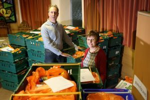 Councillor Judy Hamilton and Ian Campbell, chairman of Kirkcaldy foodbank, preparing deliveries for service users.
