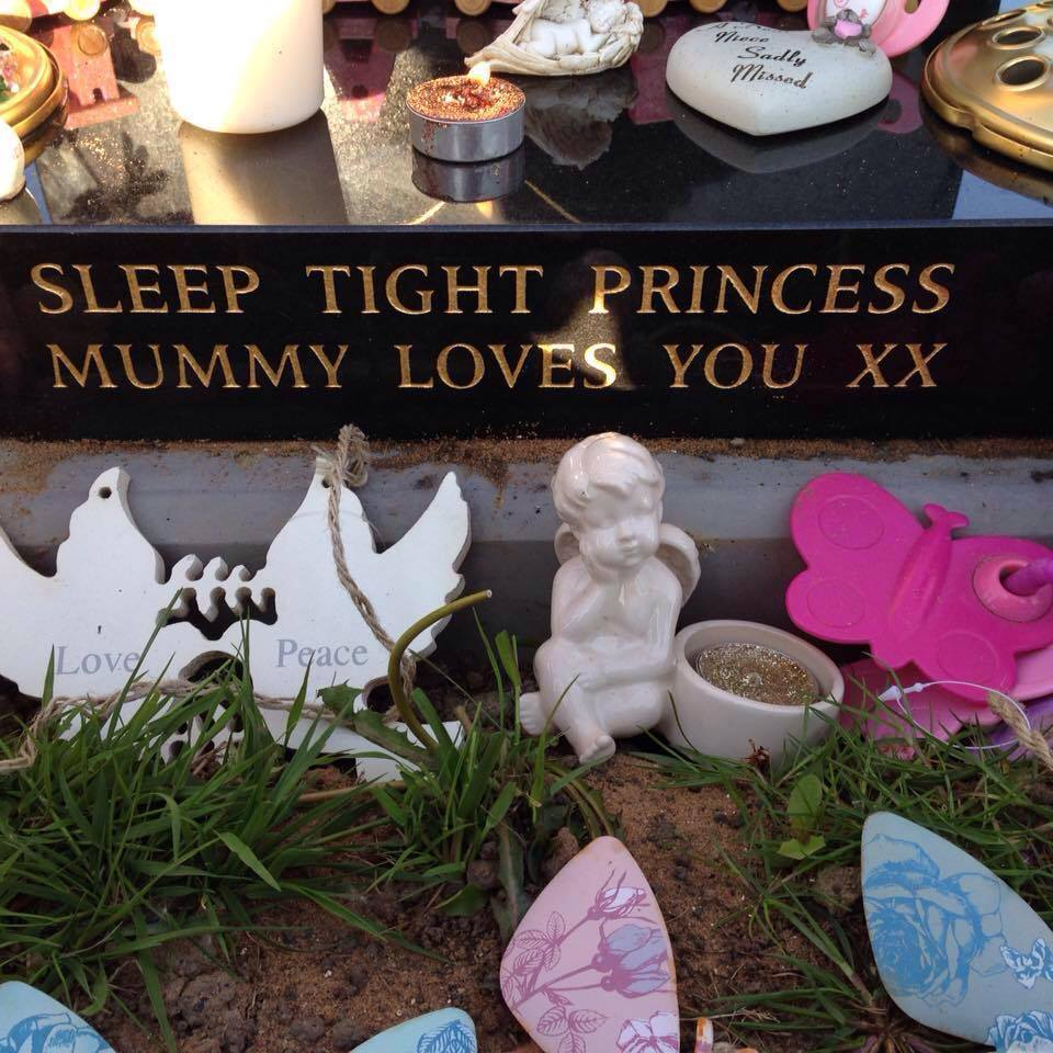 A memorial to five week old Kacey Sibbald was targeted by vandals.
