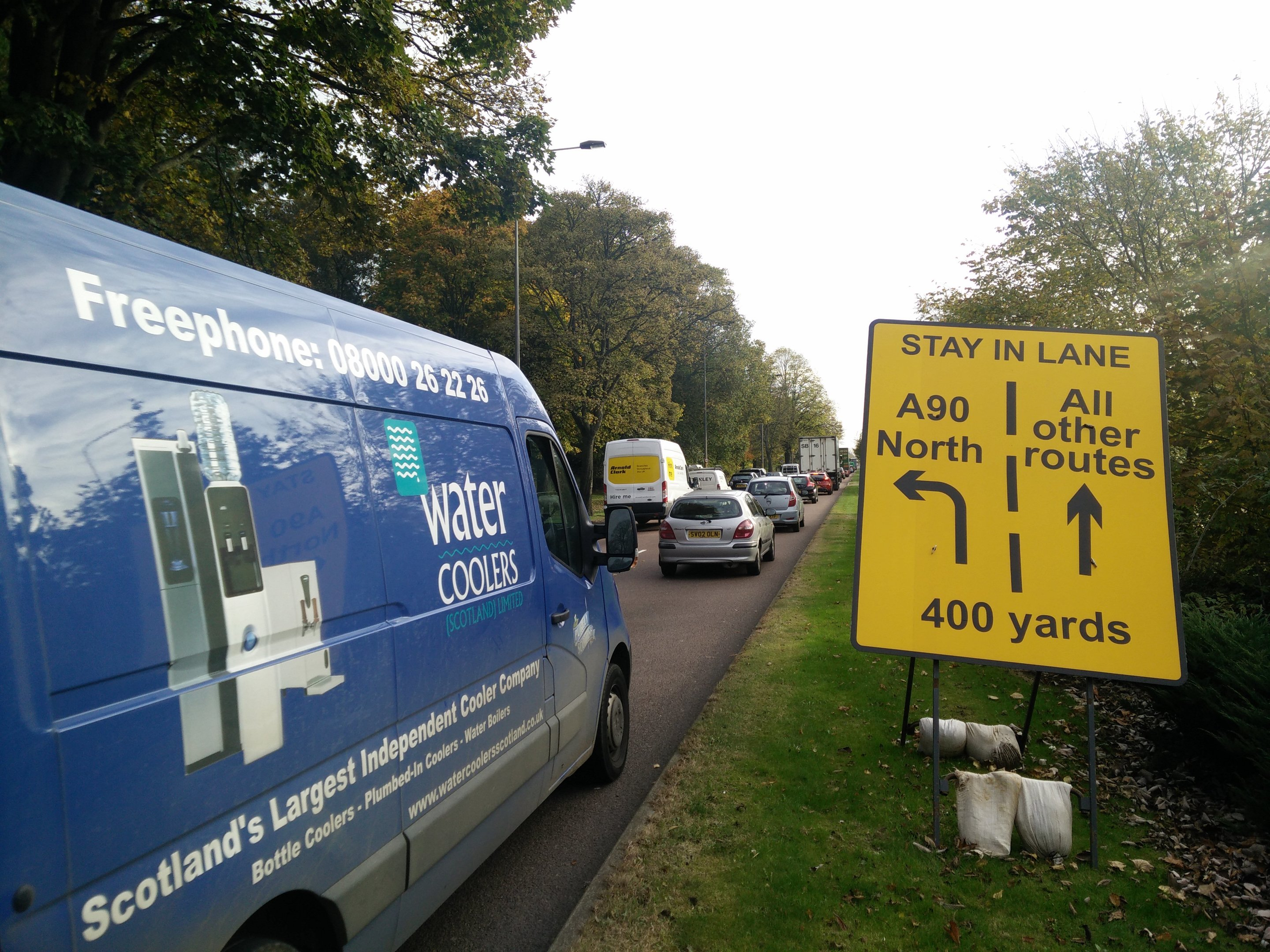 Drivers faced delays of up to 20 minutes during rush hour