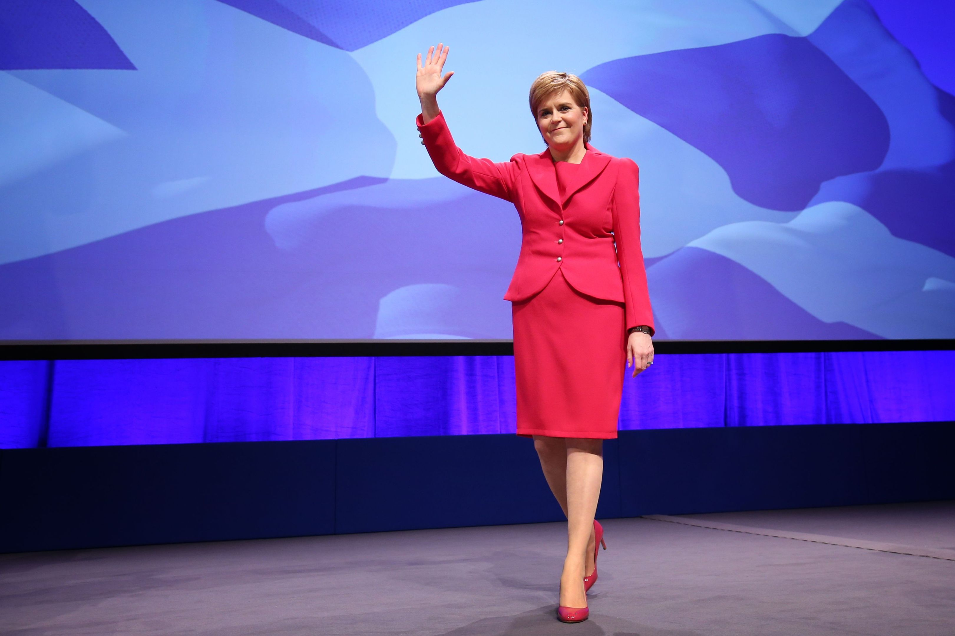 Nicola Sturgeon after giving her address at the SNP conference in Glasgow.