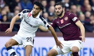 Action from the game at Tynecastle.