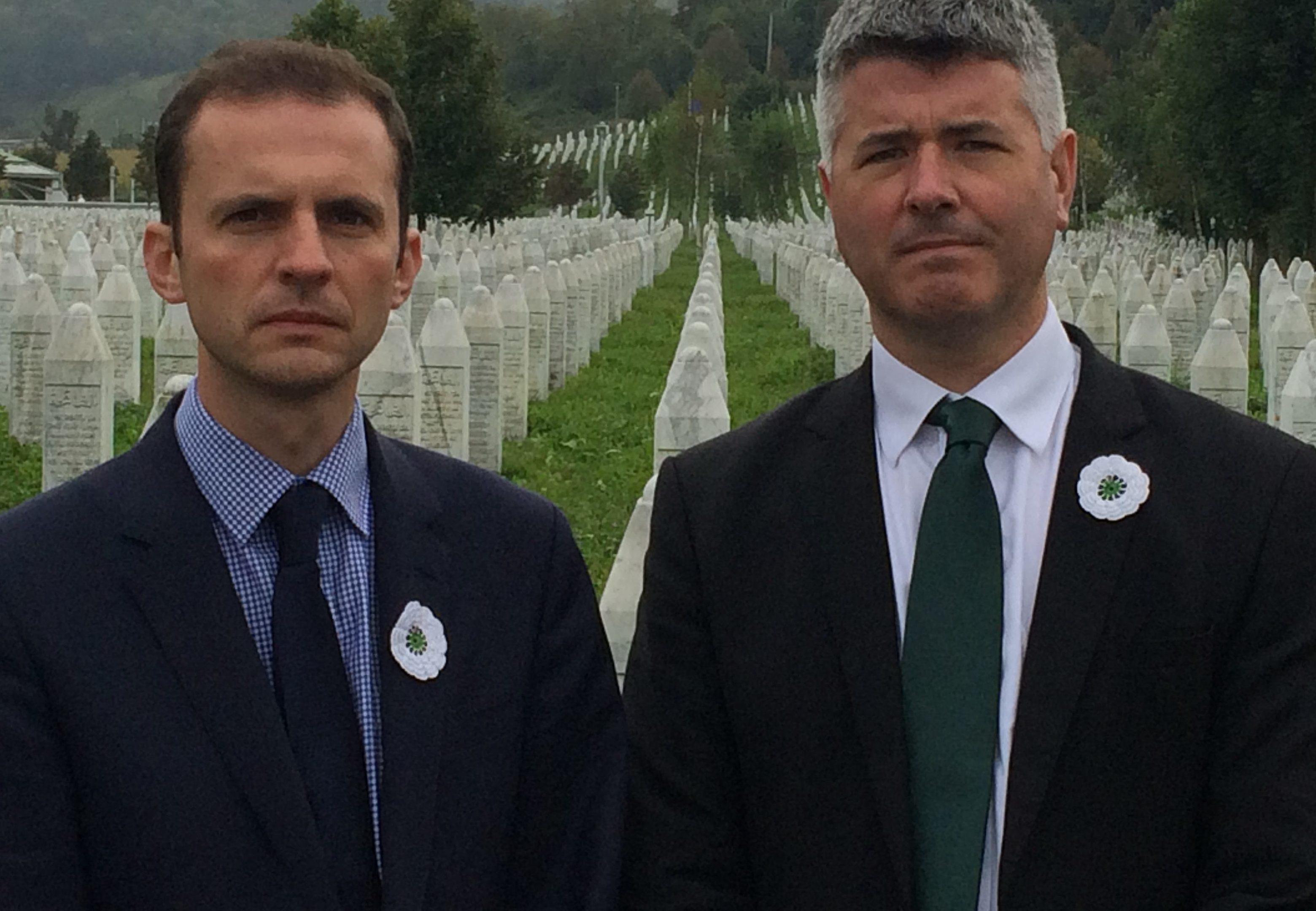 North East Fife MP Stephen Gethins and David Hamilton during a visit to one of the war cemeteries in Bosnia
