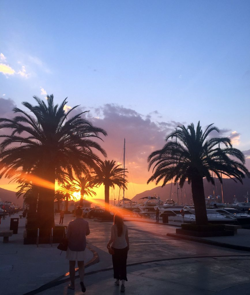 Photo of a view of sunset from the jetty at Porto Montenegro.