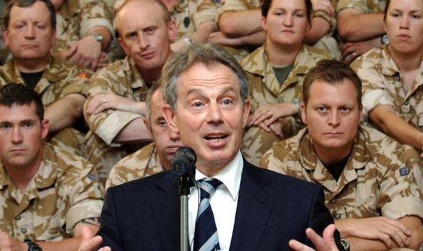 Former Prime Minister Tony Blair speaks to troops in Iraq. He contributed to Labour's demise, says Professor John Curtice