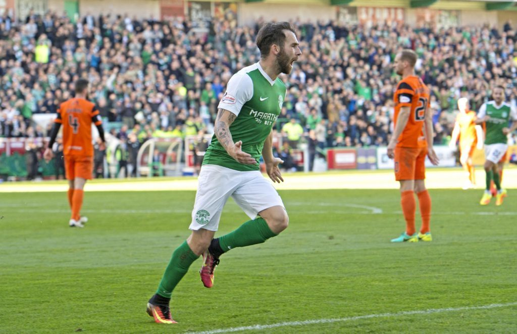 Hibs' James Keatings celebrates putting his side ahead aginst Dundee United at Easter Road in October