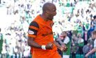 02/10/16 LADBROKES CHAMPIONSHIP    HIBERNIAN V DUNDEE UNITED    EASTER ROAD - EDINBURGH    Dundee United's William Edjenguele celebrates equalising for Dundee United