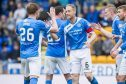 23/10/16 LADBROKES PREMIERSHIP    ST JOHNSTONE V DUNDEE    MCDIARMID PARK - PERTH    St Johnstonea??s Steven Andersoon (C) celebrates with team mates after scoring