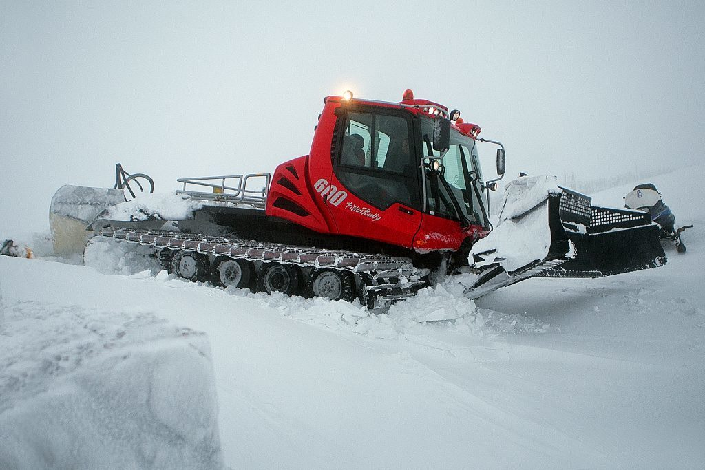Glenshee, 2014. One of the piste bashers works hard to move snow around the resort.