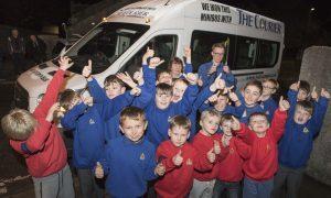 The 1st Monifieth Boys' Brigade Company win The Courier minibus.