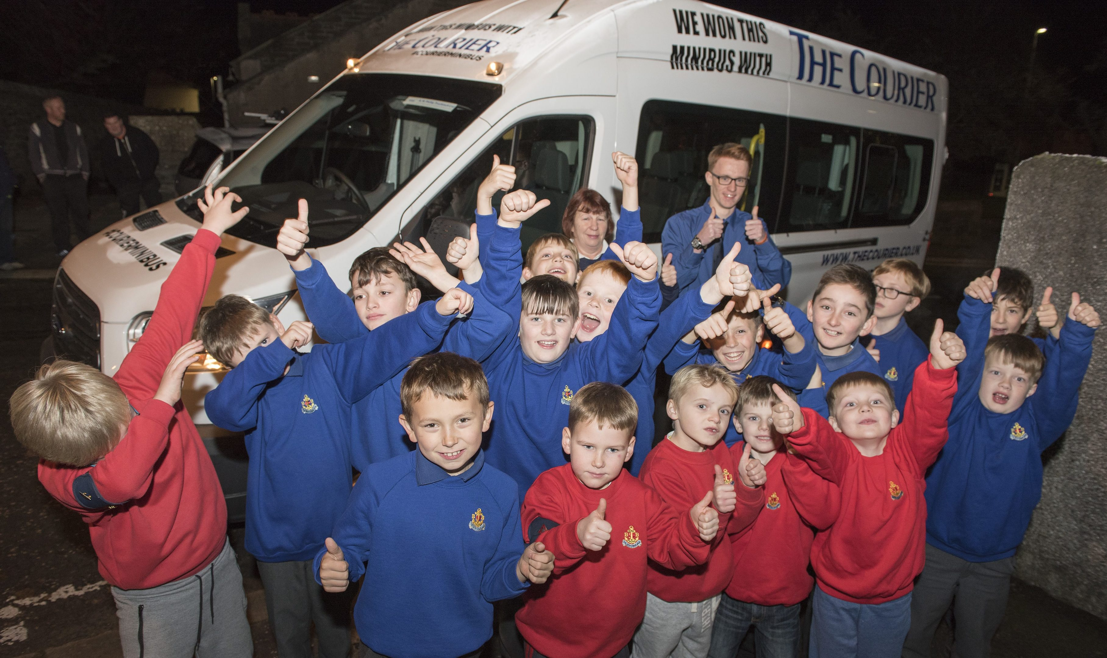 The 1st Monifieth Boys' Brigade Company win The Courier minibus.