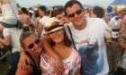 Danny Beggan at T in the Park in 2013 with friend Kelly Rocke (left) and fiancee Michelle Adair (centre).