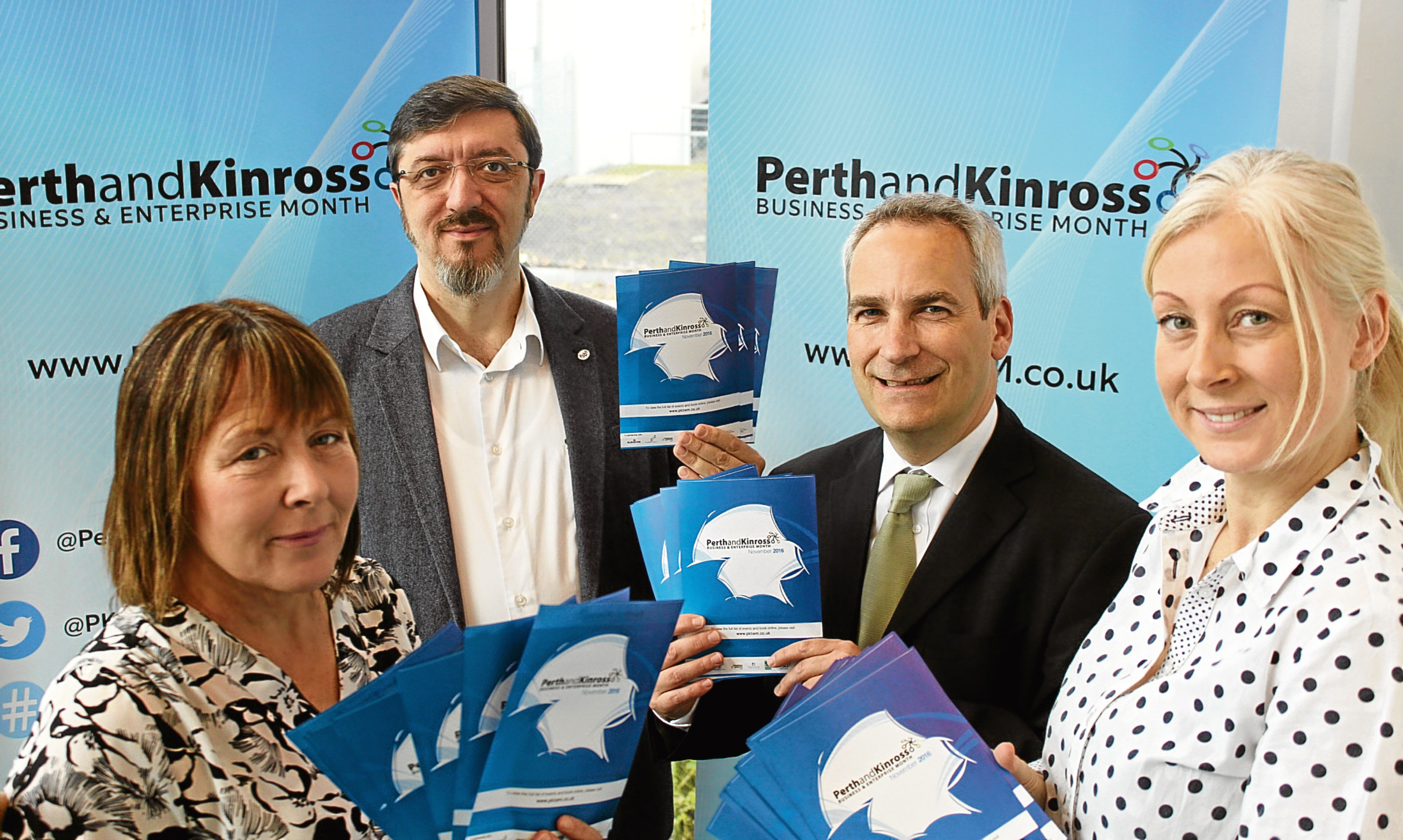 Spreading the word about Perth and Kinross Business and Enterprise month are Lynn McCabe, Corrado Mella, Alan Graham and Perthshire Chamber CEO Vicki Unite.