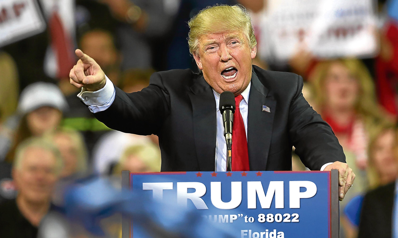 Donald Trump on the campaign trail in Orlando, Florida.