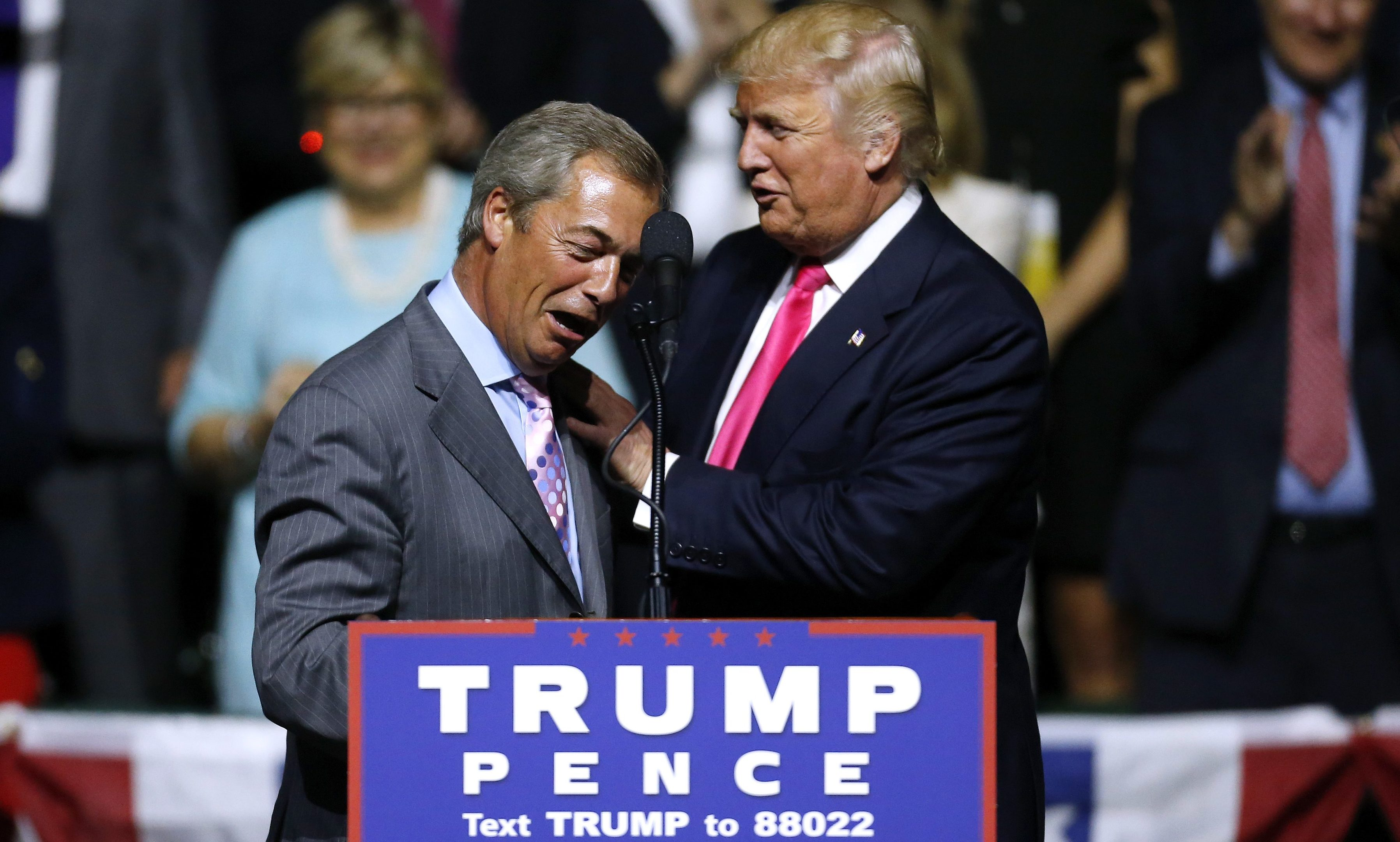 Nigel Farage spoke at a Donald Trump rally during campaigning.
