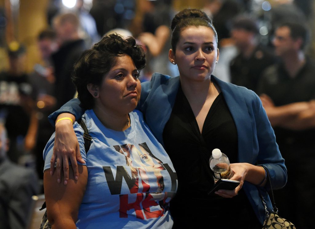 Hillary Clinton supporters Susan Taylor (L) and Celinda Pena react as they watch the presidential election swing in favour of Donald Trump