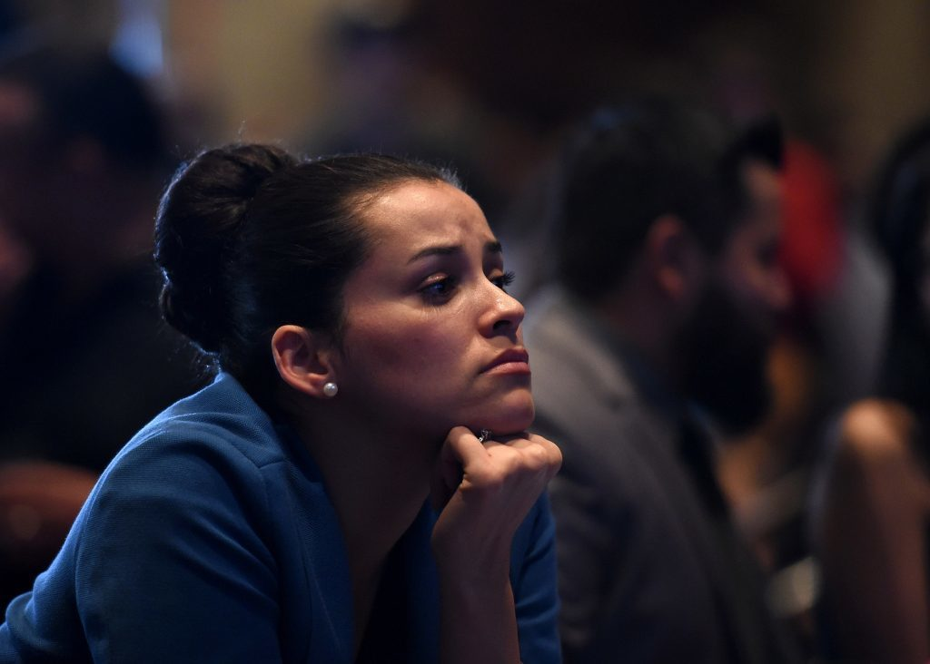 Hillary Clinton supporter Celinda Pena reacts as she watches the presidential election swing in favour of Donald Trump at the Nevada Democratic Party's election results watch party