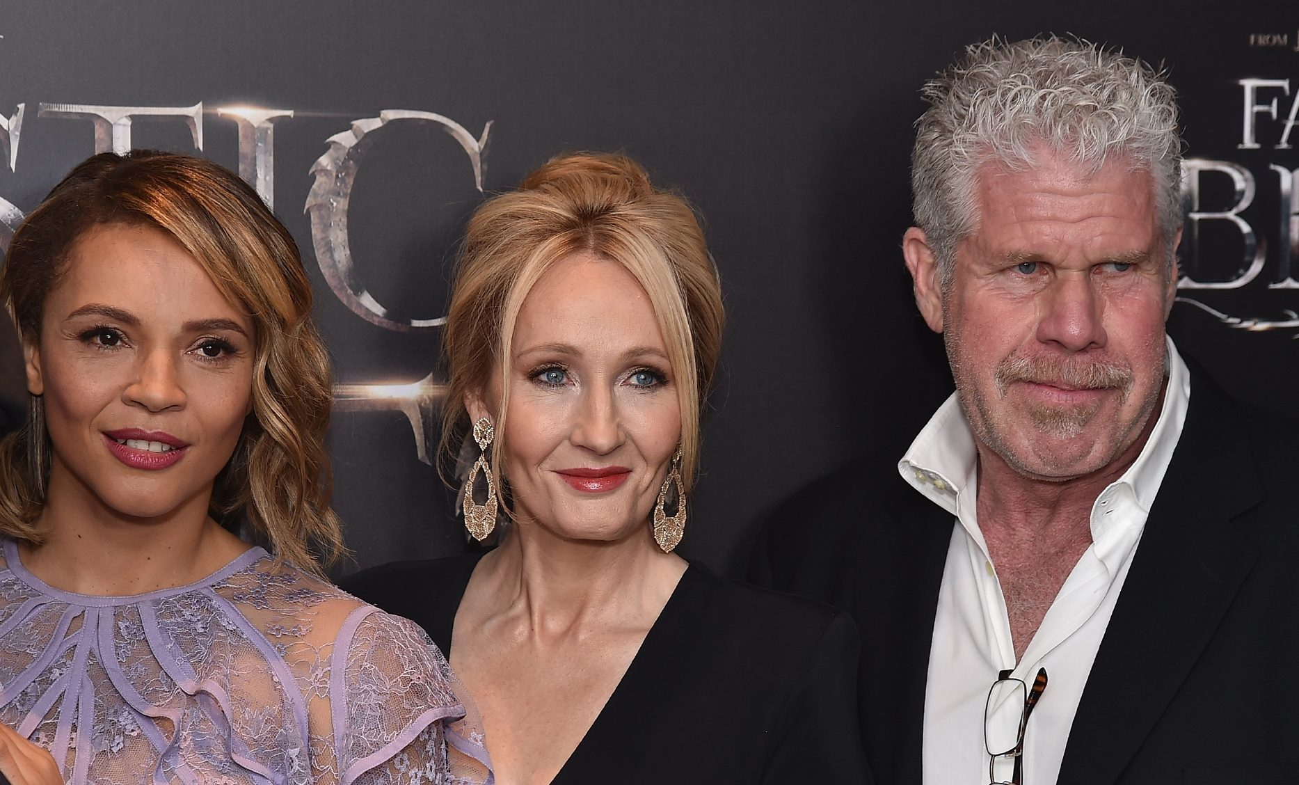 Carmen Ejogo, JK.Rowling and Ron Perlman at the premiere in New York.