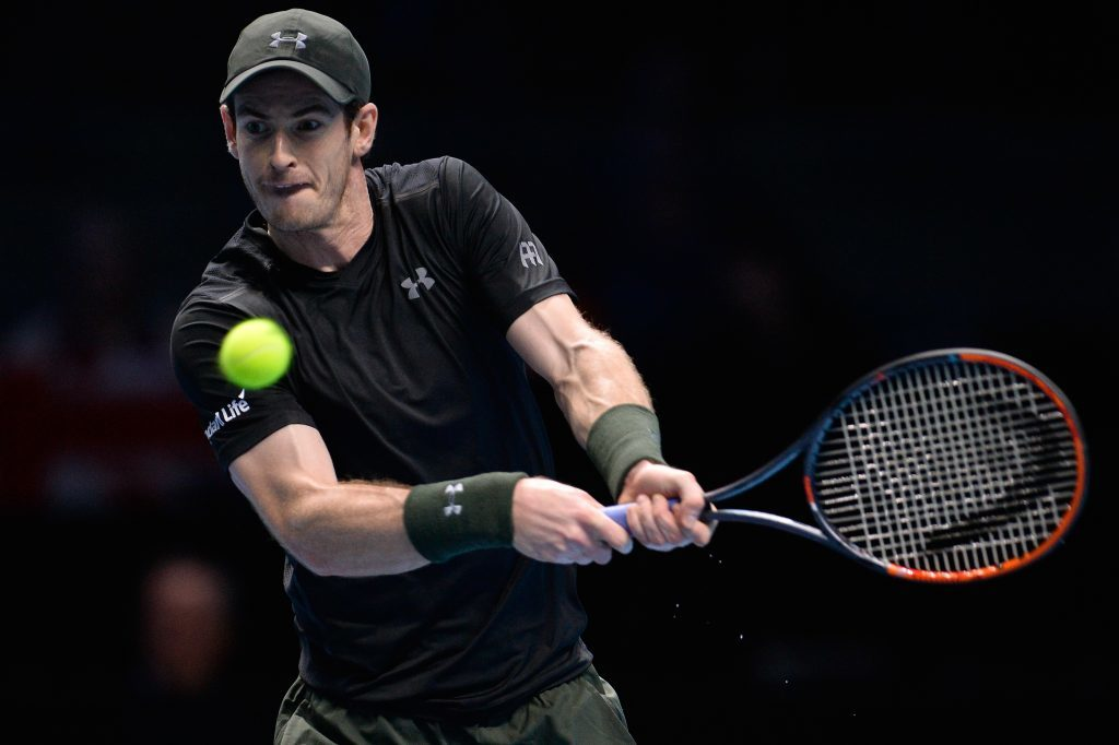 LONDON, ENGLAND - NOVEMBER 20: Andy Murray of Great Britain hits a backhand during the Singles Final against Novak Djokovic of Serbia at the O2 Arena on November 20, 2016 in London, England. (Photo by Justin Setterfield/Getty Images)