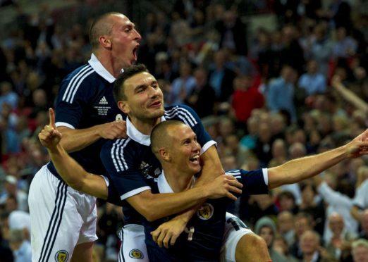 Kenny Miller after scoring for Scotland against England at Wembley.
