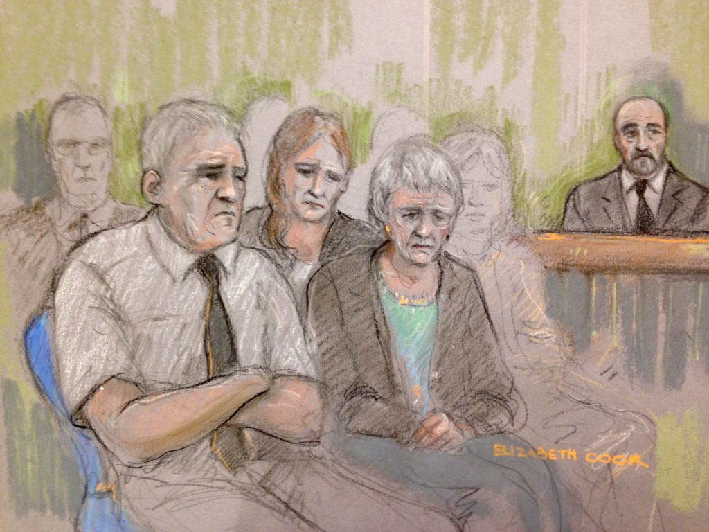 A sketch of the family of Jo Cox, father Gordon Leadbeater (left), sister Kim (centre, rear) and mother Jean (right) at the Old Bailey.