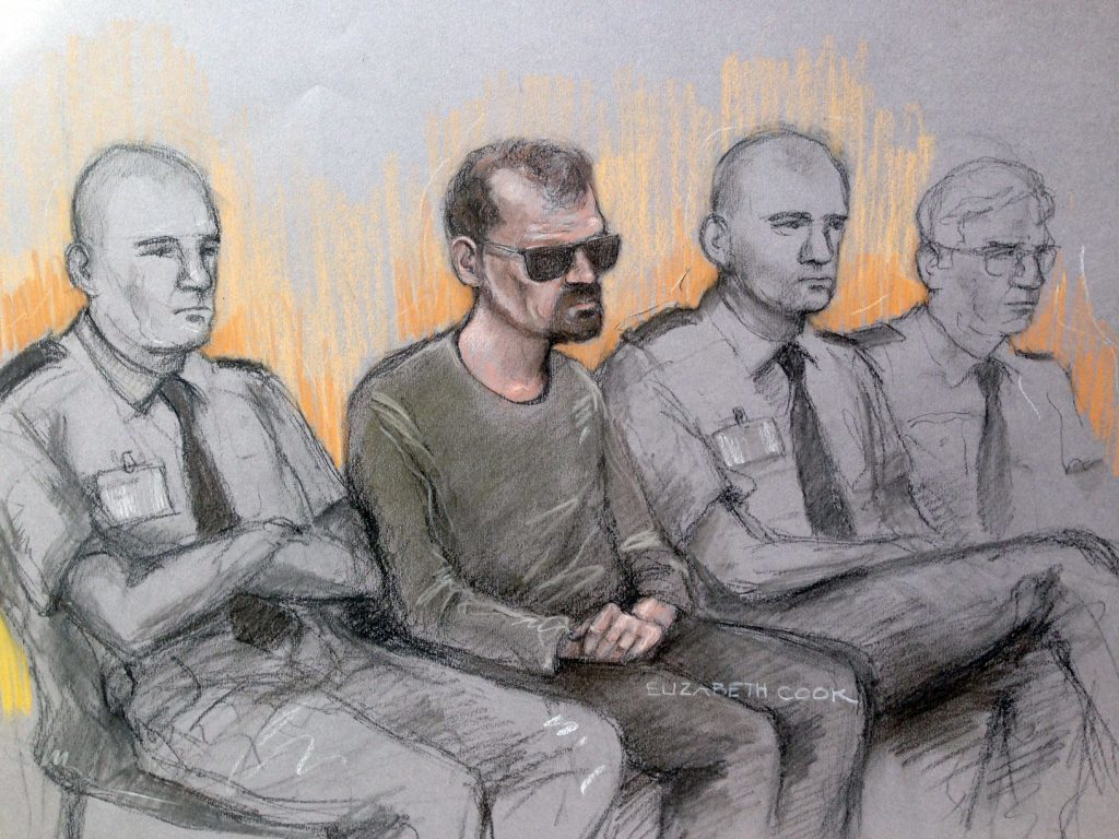 A court sketch of Stefano Brizzi in the dock at the Old Bailey.