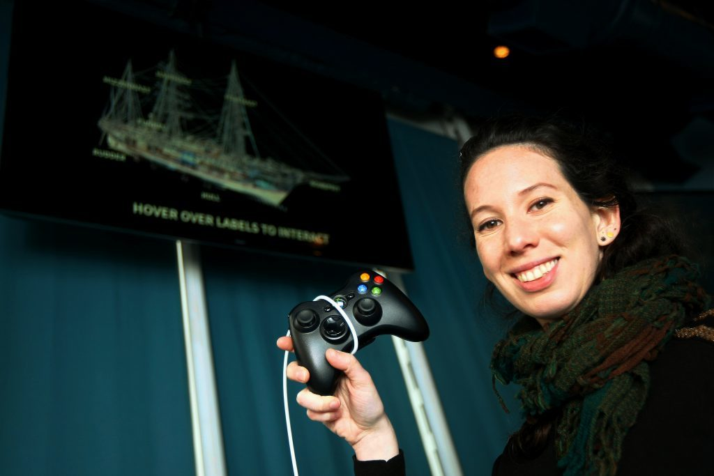 Catherine Cassidy shows off the new interactive exhibit