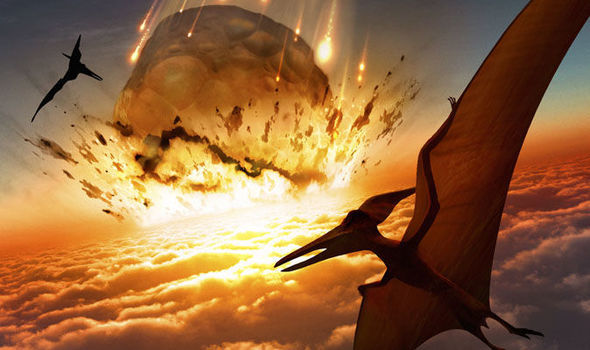 Artist impression of asteroid striking Earth at time of the dinosaurs