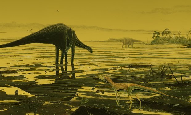 Artist impression of the Isle of Skye at the time of the dinosaurs 170 million years ago