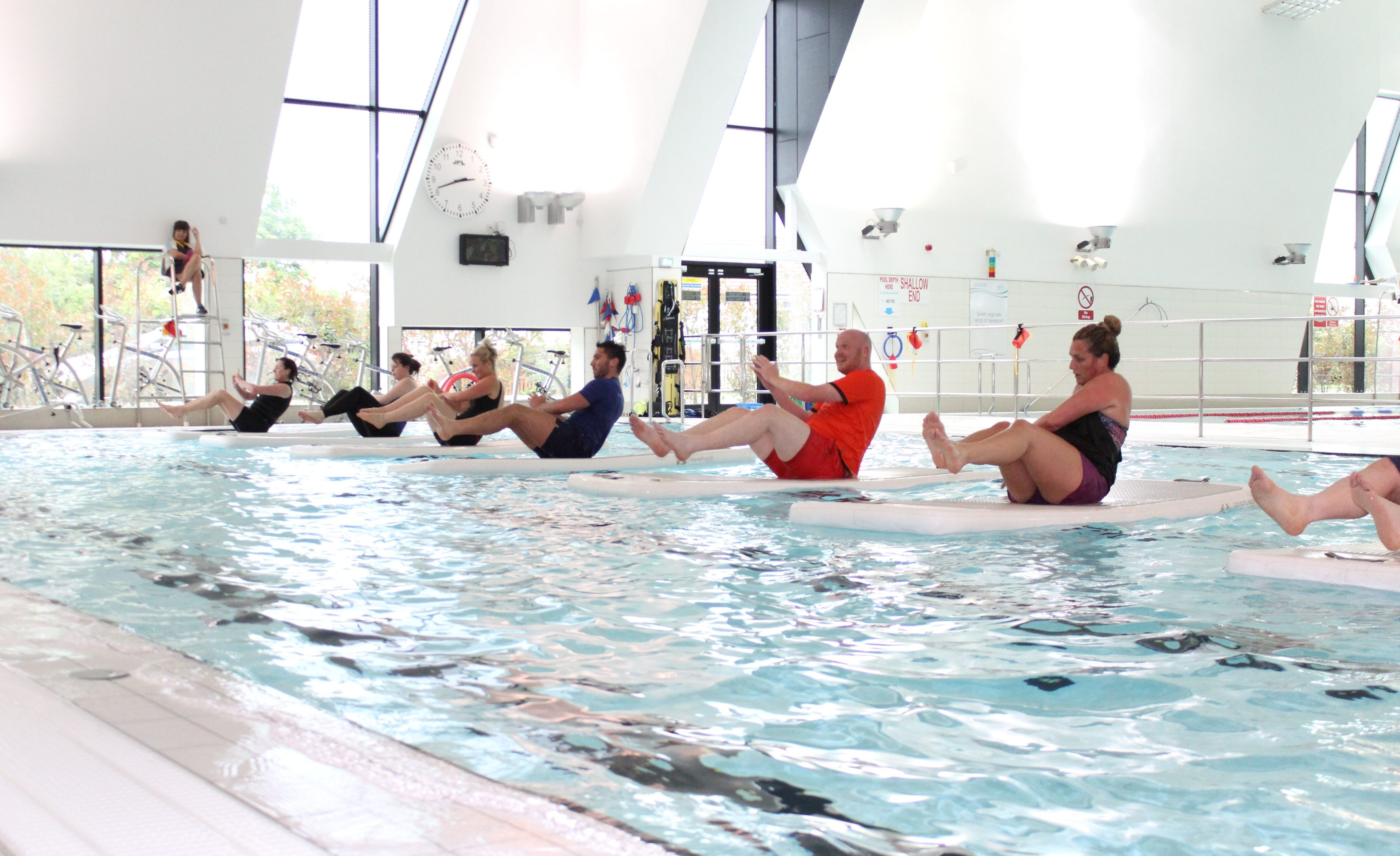 Fife Sports and Leisure Trust staff demonstrate floatfit at Michael Woods Sports and Leisure Centre in Glenrothes,