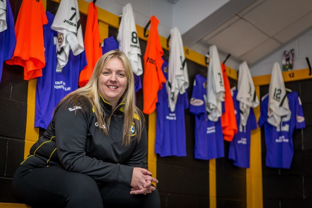 Lorna McAuley in the Home dressing room at Bayview, home of East Fife FC