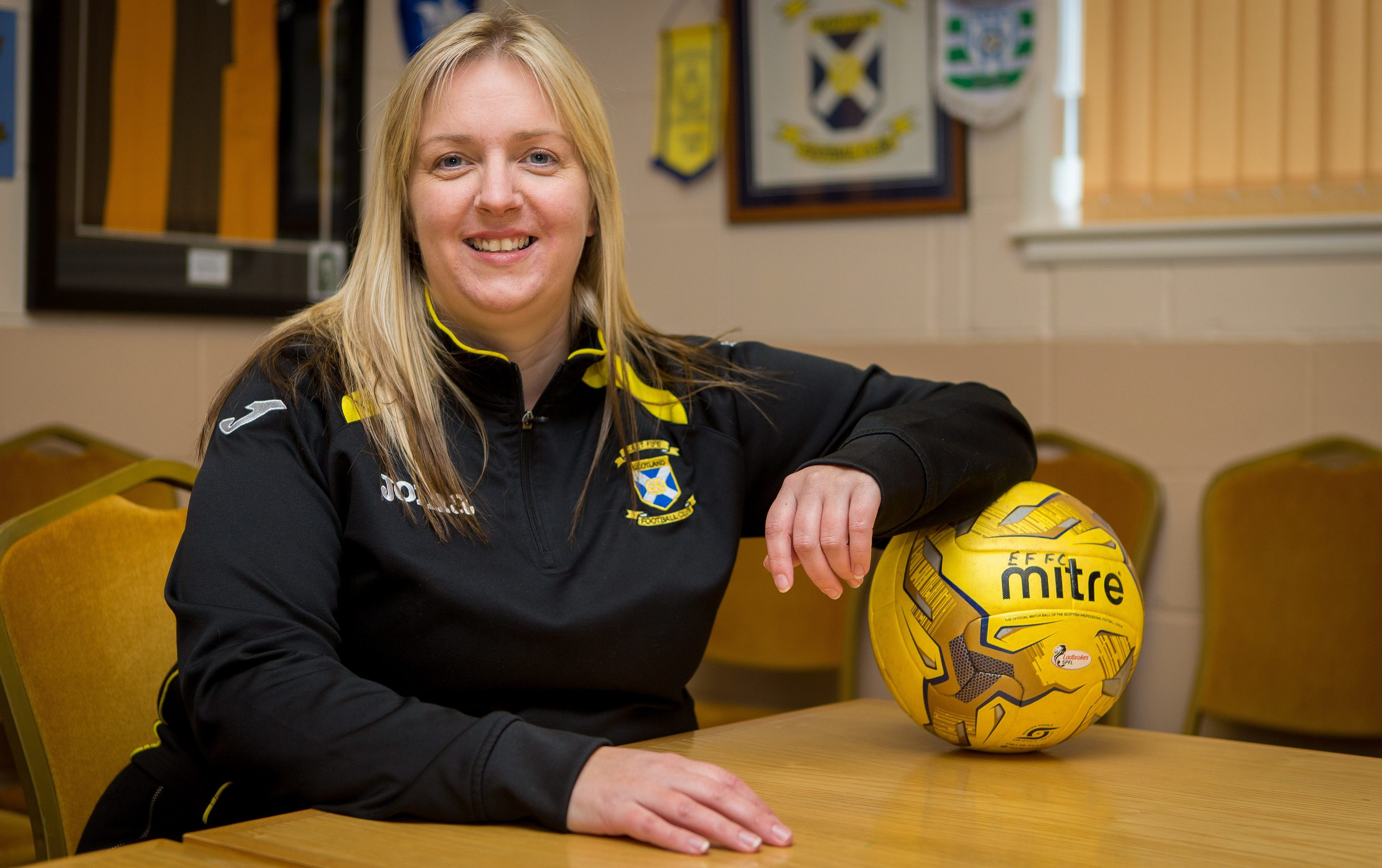 Lorna McAuley, Head of East Fife Youth Academy, pictured in the East Fife FC board room