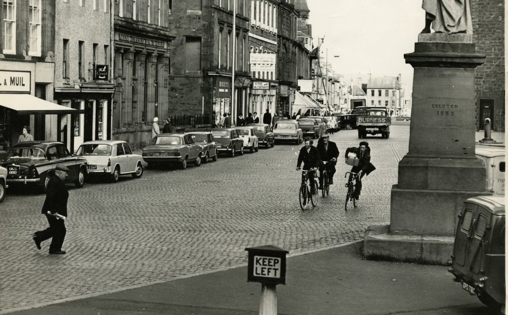 Cyclists on Montrose High Street. 16 October 1967.