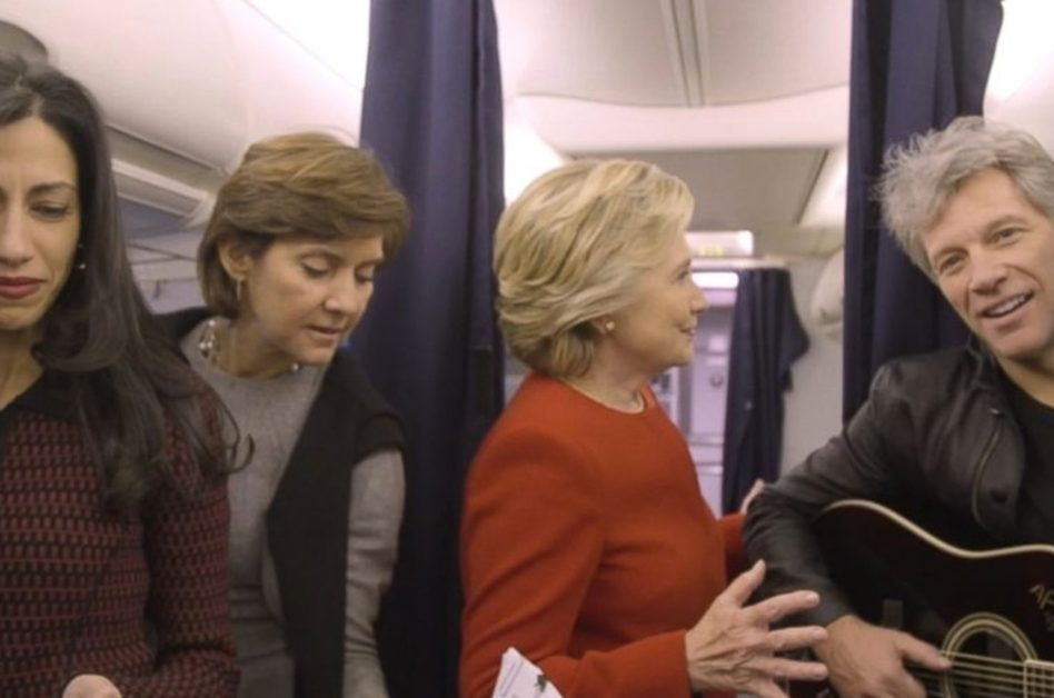 Hillary Clinton, Jon Bon Jovi and staff strike a pose for the Mannequin Challenge