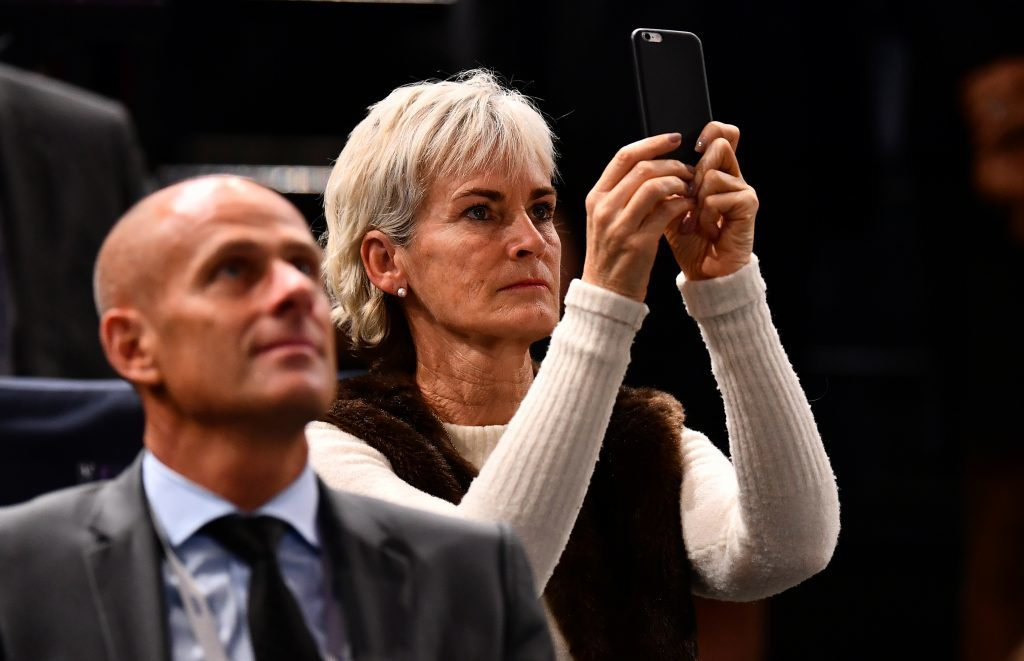Judy Murray watches as her son Andy Murray of Great Britain is named world number one following a walkover in the Mens Singles semi final against Milos Raonic of Canada on day six of the BNP Paribas Masters at Palais Omnisports de Bercy on November 5, 2016 in Paris, France.