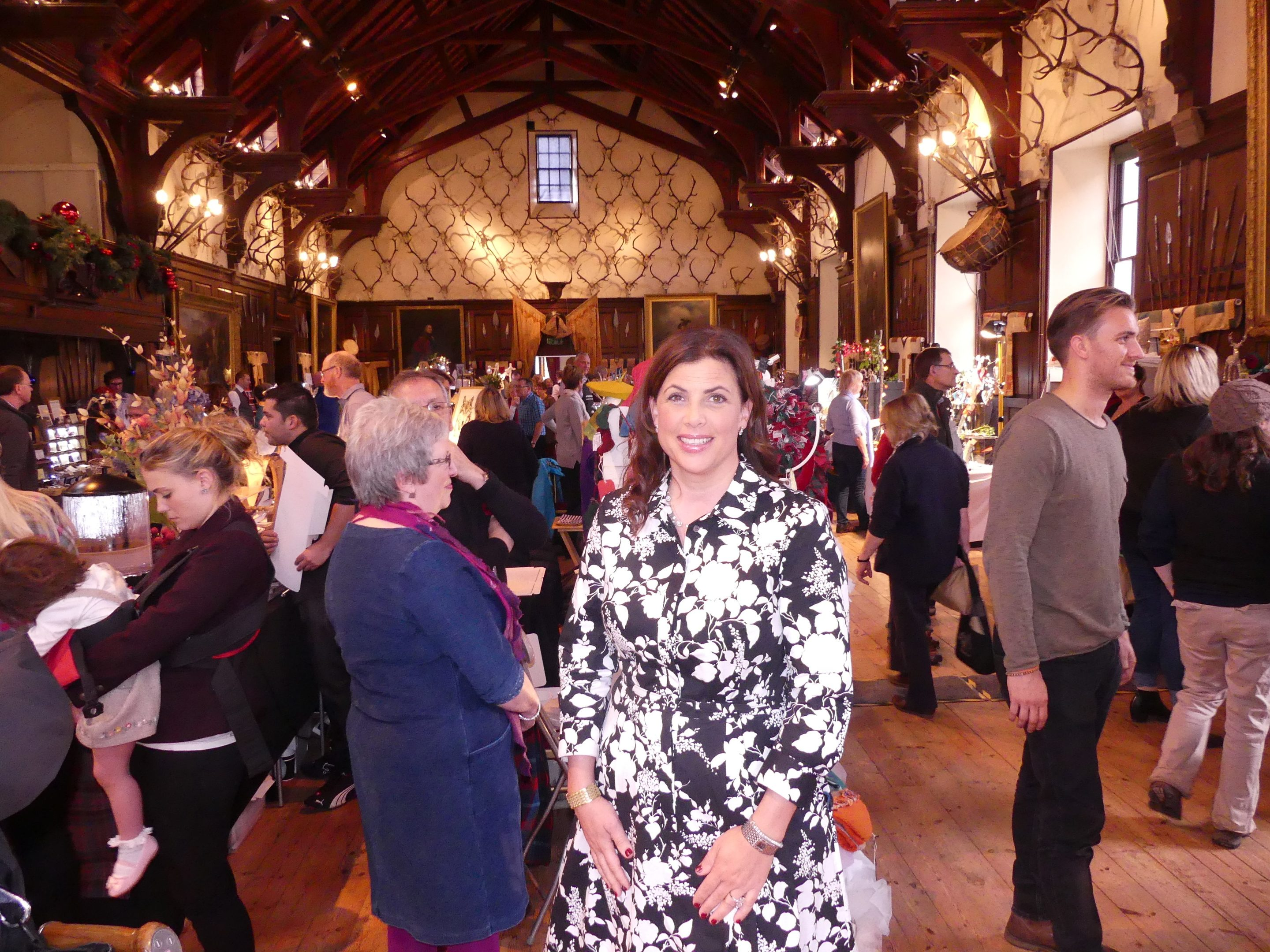 Kirstie Allsopp enjoys a craft fair at Blair Castle during filming for her Christmas show.