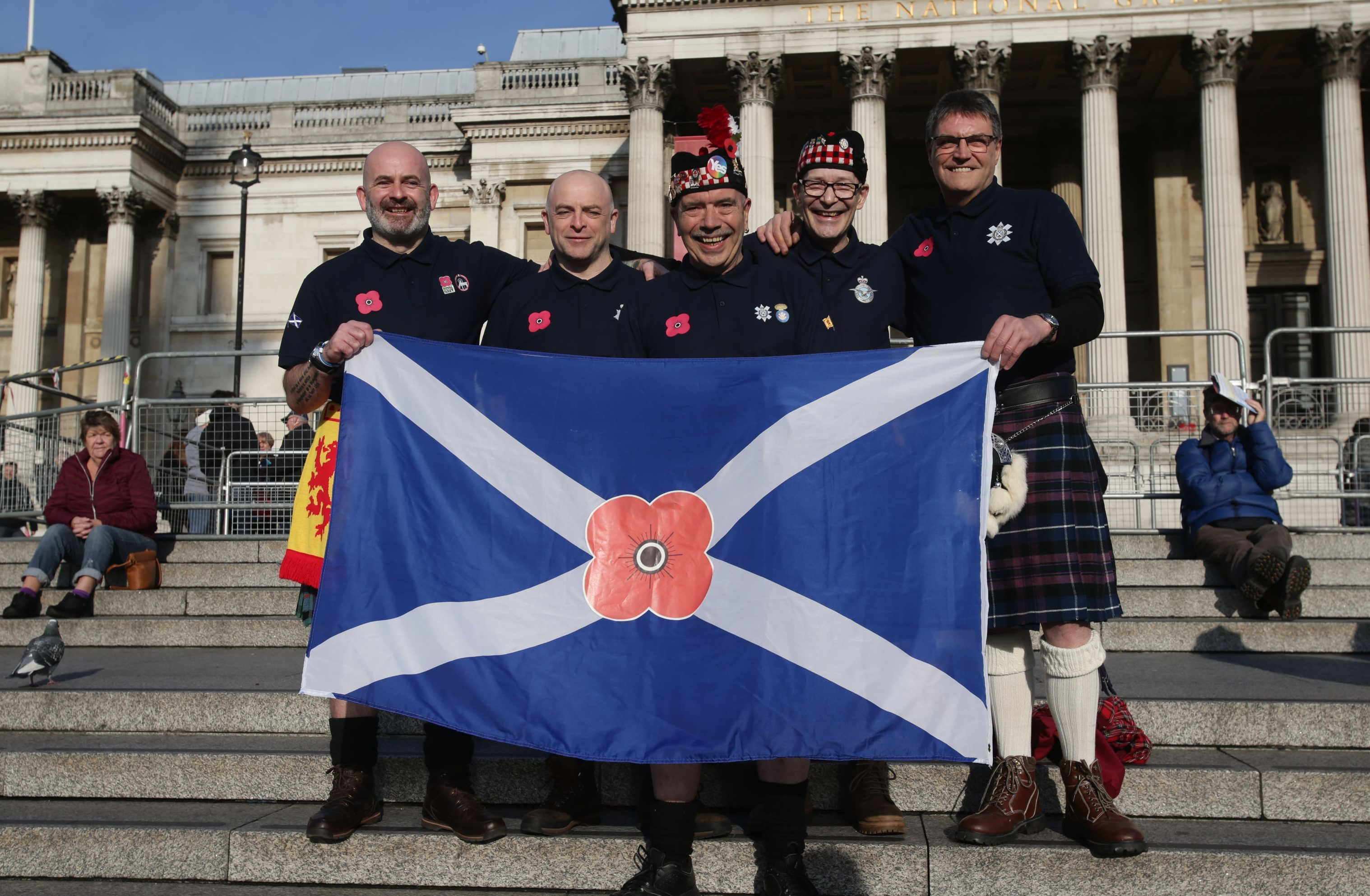 Some of the Scots who were at Trafalgar Square to show their respects.