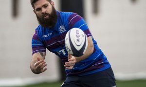South African Cornell du Preez in training with the Scotland squad this week.