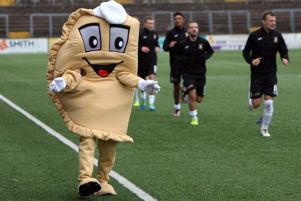 Baxter the Bridie - a new Forfar Athletic legend. But he has yet to challenge the price of a Forfar pie!