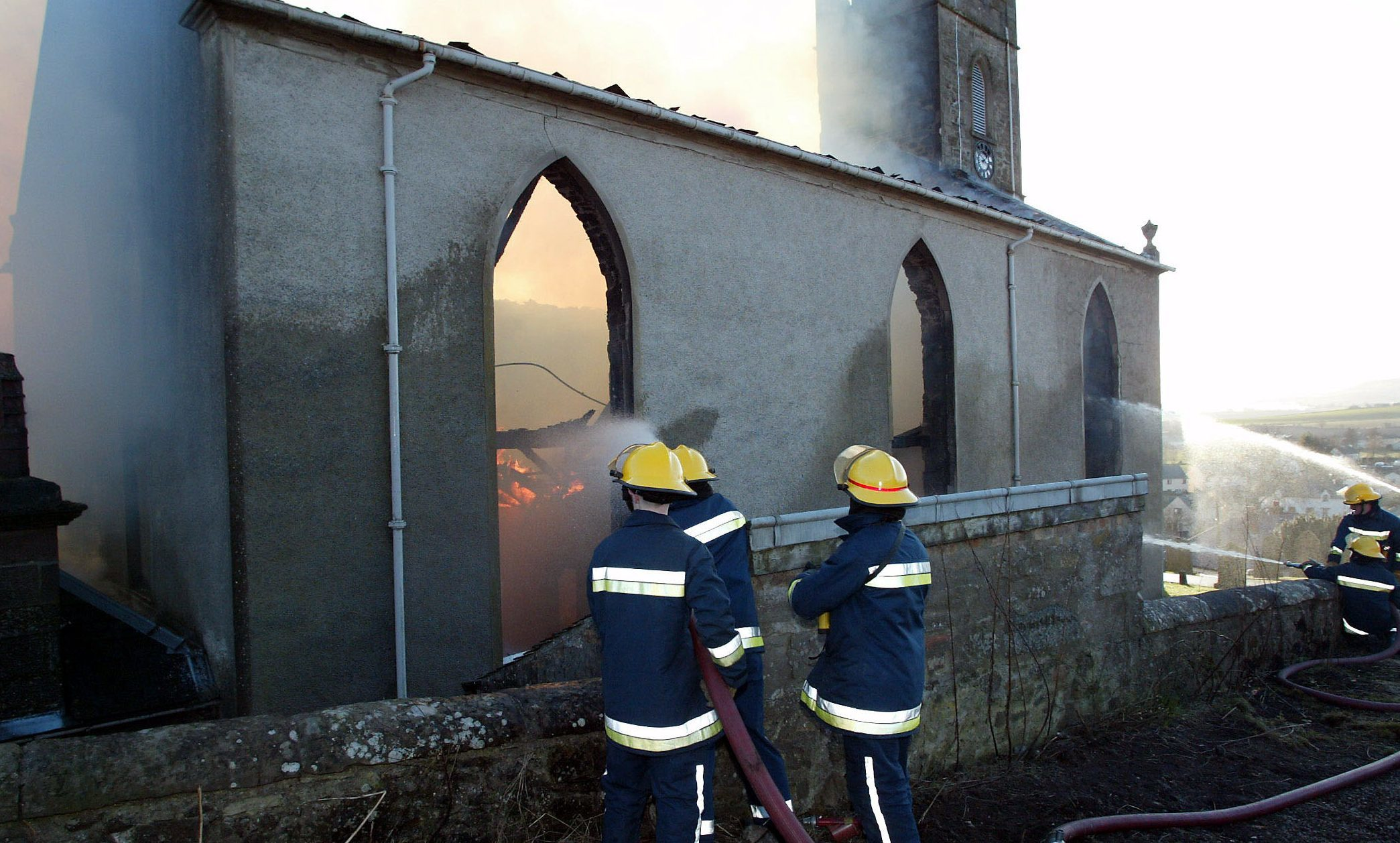 Firefighters battle the Bankfoot Church blaze in 2004.