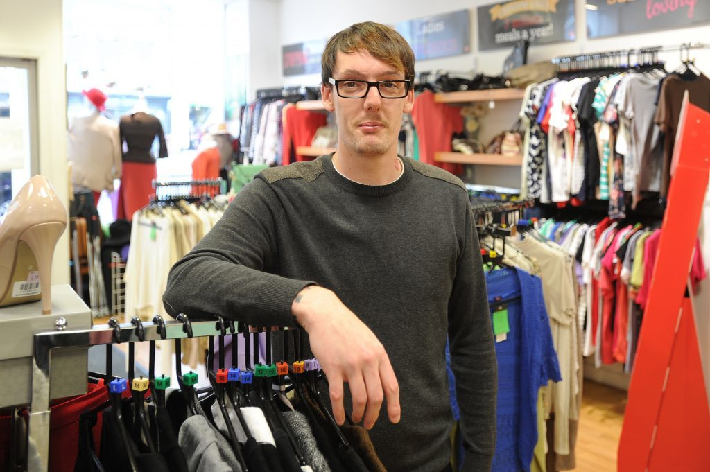 Brian Burnett, a sales assistant at the Salvation Army shop, High Street, Montrose,