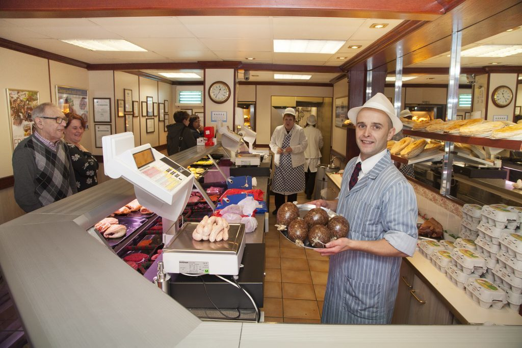 J Barclay Butcher at 90 High Street, Montrose. Pic shows butcher Kevin Mackie