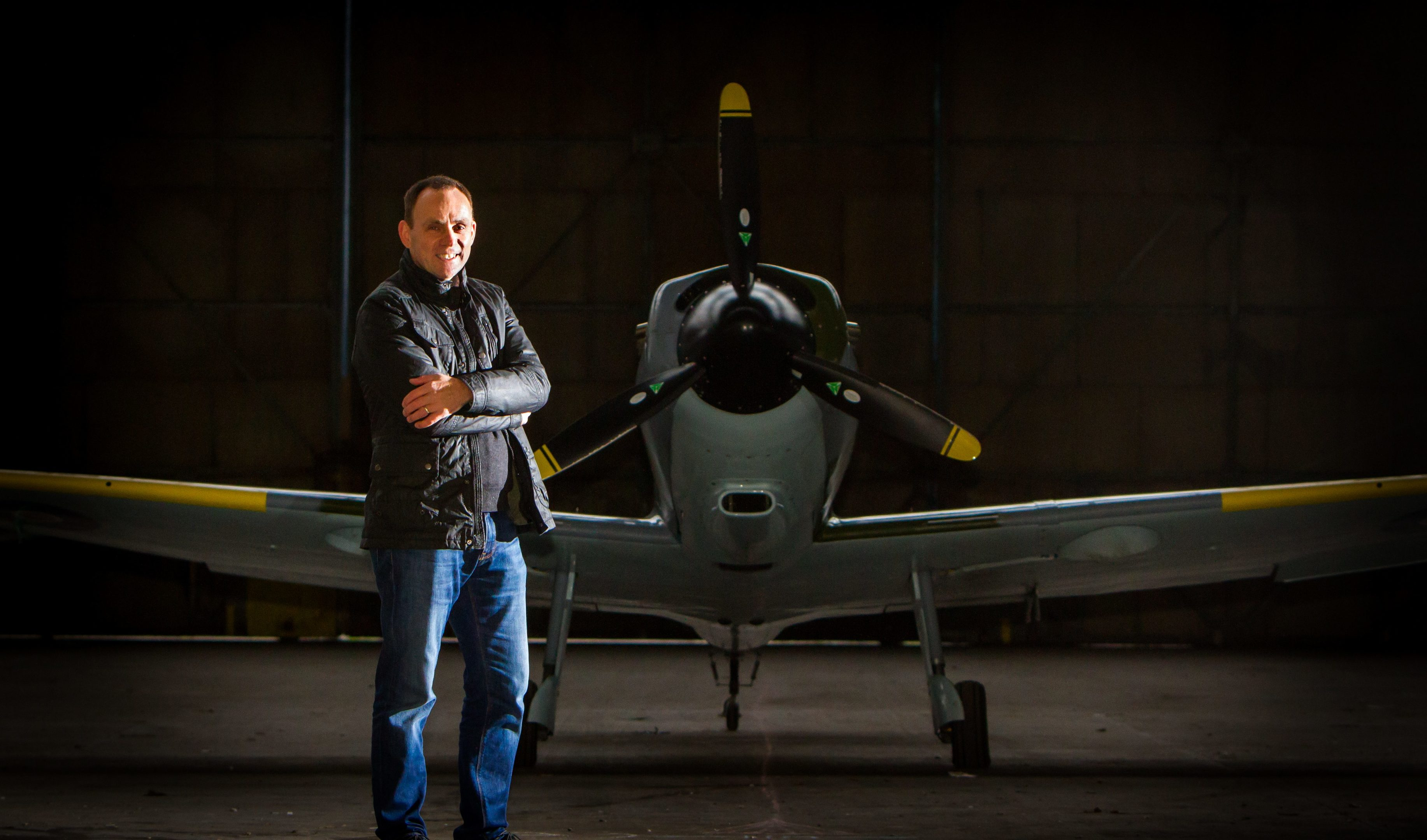 Iain Hutchison with his replica Spitfire
