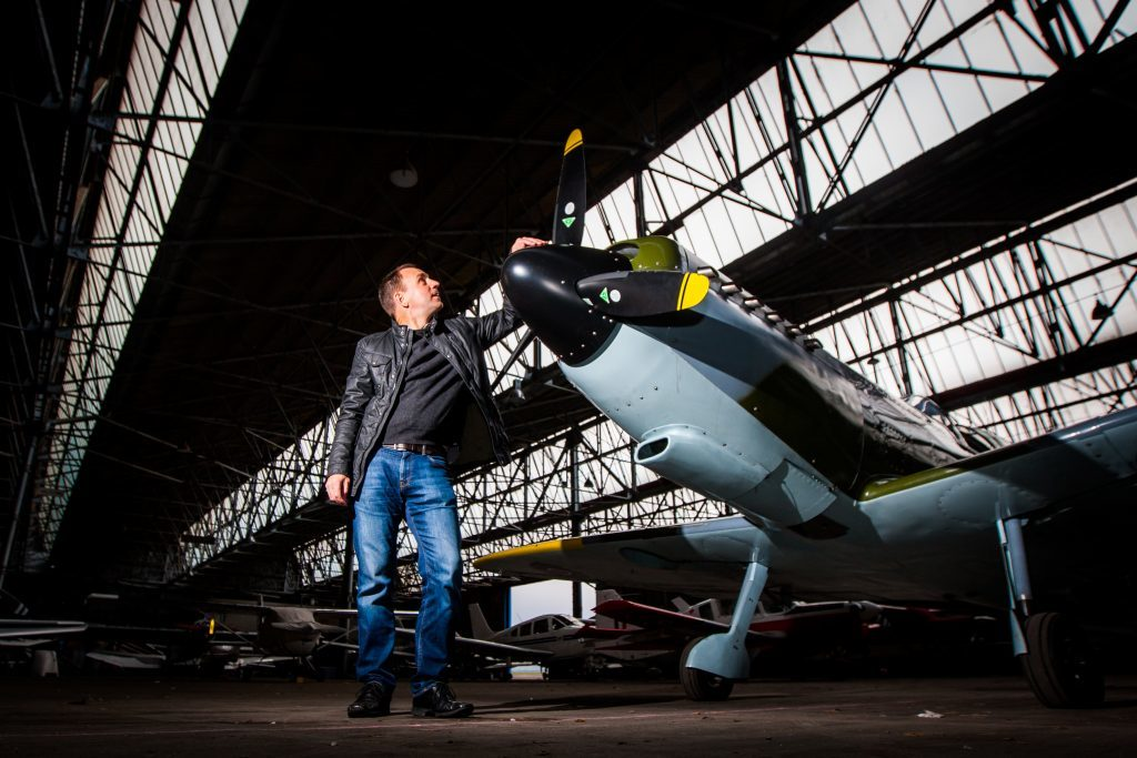 Iain Hutchison with his Spitfire