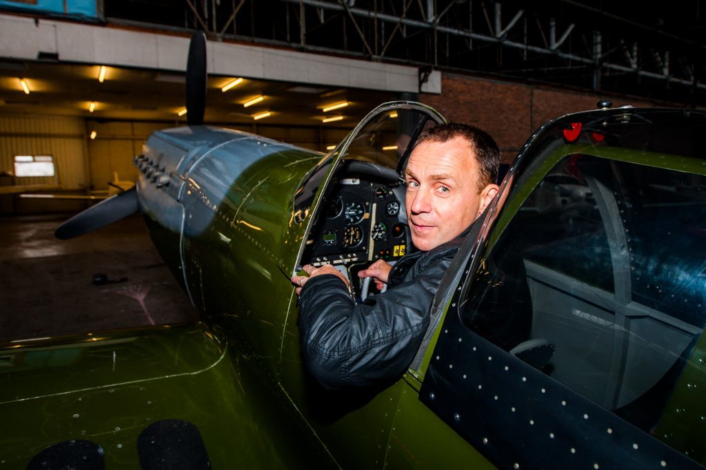 Iain Hutchison in his replica Spitfire
