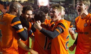 Happy faces after Dundee United's winner against Hibs.