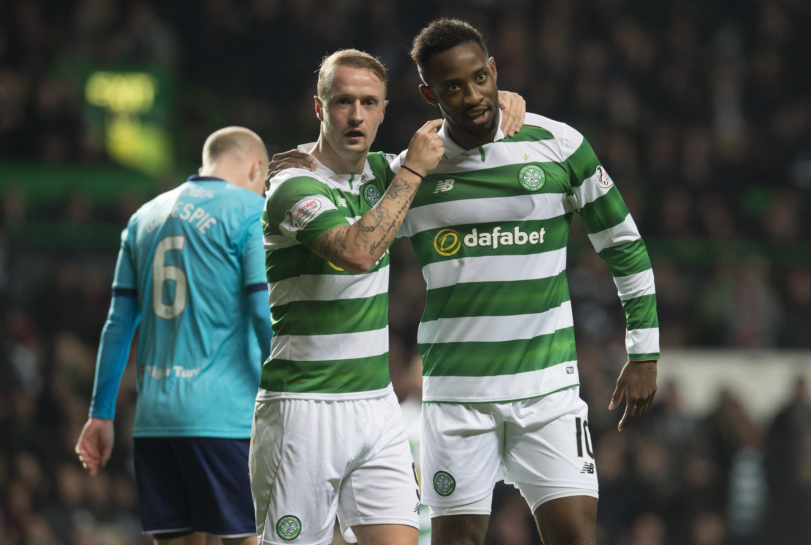 Celtic's Leigh Griffiths celebrates his goal against Hamilton with team-mate Moussa Dembele.
