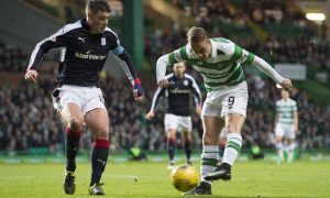 Celtic's Leigh Griffiths is closed down by Darren O'Dea.