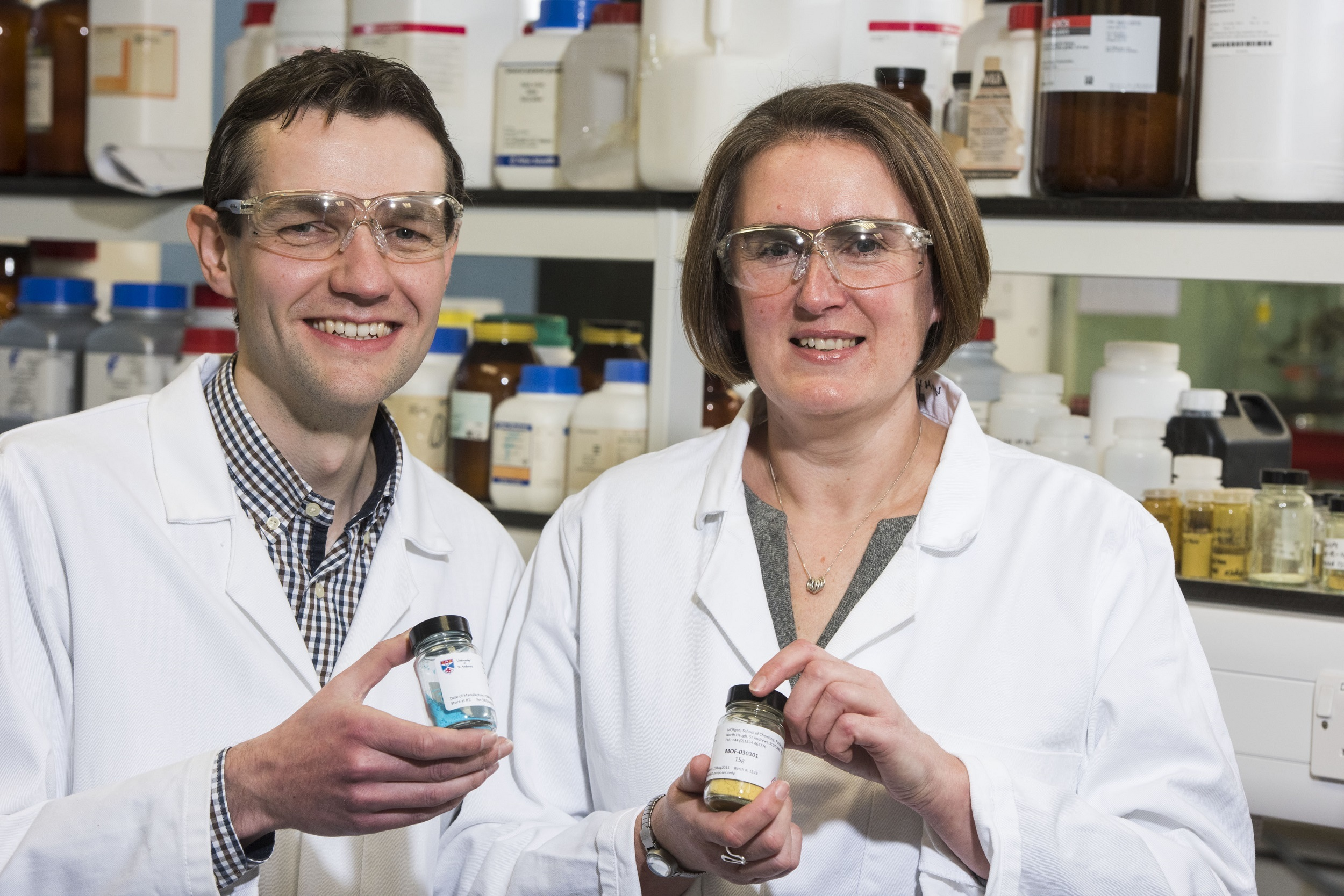 Dr Morven Duncan and Dr Stewart Warrender in the MOFgen development lab in the School of Chemistry at the University of St Andrews