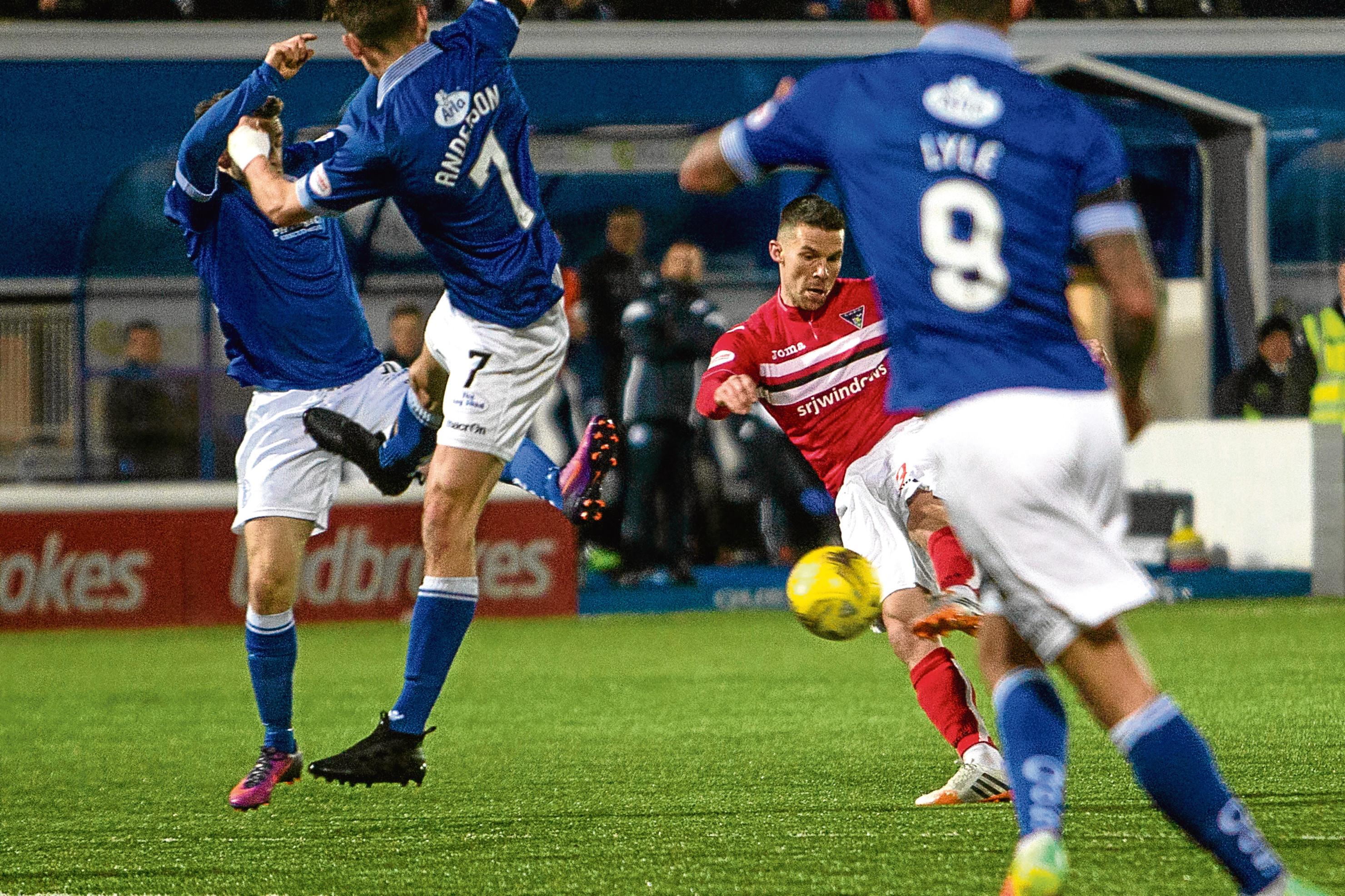 Justin Talbot scores for Dunfermline.